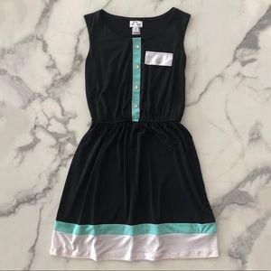 Sweet Storm sleeveless faux buttons dress